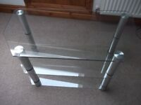 Modern stand for TV and accessories. In glass and chrome - 3 shelves
