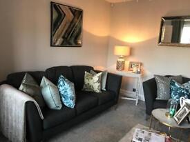 3 piece dark grey suite sofa setee armchair