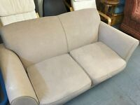 SPRUNG BACK BLUSH COLOURED SOFA WITH MATCHING ARMCHAIR