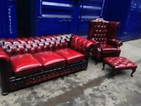 🎉🔥IMMACULATE CHESTERFIELD 3 piece suite SOFA, WINGBACK QUEEN ANNE & footstool genuine leather