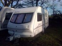 Elddis Broadway 470 2 berth caravan with motor mover, Porch awning and ¾ Awning for sale. £3250