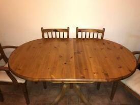 Drop leaf table, 4 chairs and 2 carvers