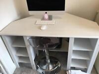 White Corner Home Office Computer Desk.