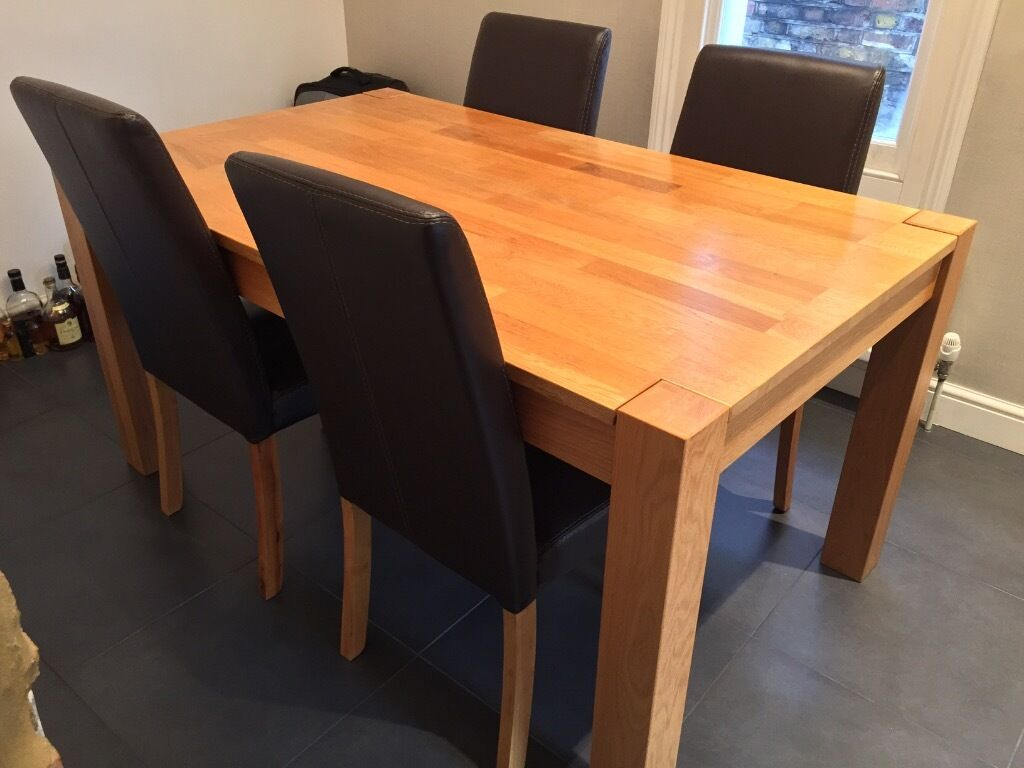 Debenhams Ontario Wooden Dining Table And 4 Brown Leather Chairs