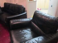 black real leather large 2 seater settee with armchair