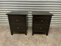 FREE DELIVERY TWO IKEA HEMNES BLACK BROWN BEDSIDE TABLES GOOD CONDITION