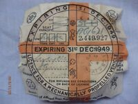 VINTAGE TAX DISCS. 14(1938-1953) excl. 41,42,43,44,45. Includes 1 with original surround