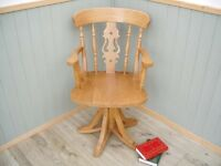 Stunning Pine Fiddle Captains Chair.
