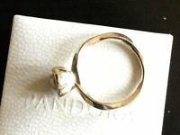 Pandora Ring with grey fresh water pearl.