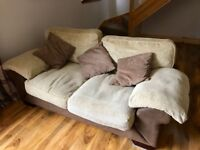 3 Piece sofa set with matching footstool