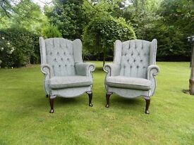 2 Mint-Green Buttoned Wing-Back Chairs