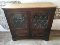 Oak Old Charm Glazed Display Cabinet Bookcase With Cupboard Below