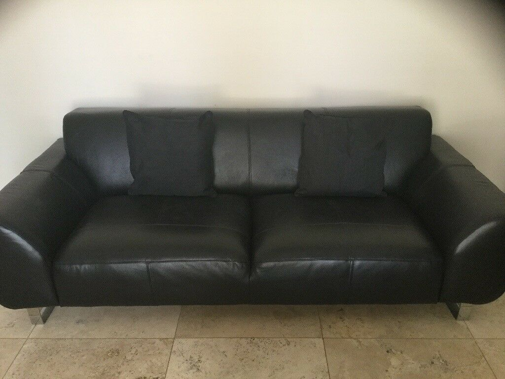 3seater Black Leather Sofa Dfs 12 Months Old Chrome Leg Stands