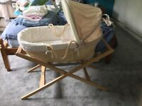 Billie and Morris Moses basket with stand from mamas and papas
