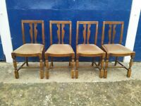 Set of four 1950's oak dining chairs FREE DELIVERY
