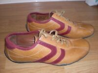 MENS SIZE 8 CASUAL NEXT SHOES - LIGHT TAN WITH RED STRIPES - AS NEW HARDLY WORN