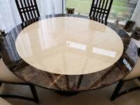 Granite table and 6 high back chairs
