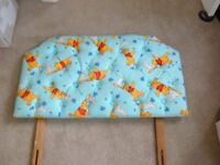 WINNIE THE POOH SINGLE HEADBOARD IN LIGHT BLUE WINNIE THE POOH MATERIAL - IN EXCELLENT CONDITION