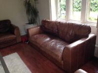 Quality Antique Brown Leather 3 piece suite