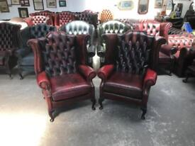 Stunning pair of oxblood leather chesterfield Queen Anne wingback chairs UK delivery