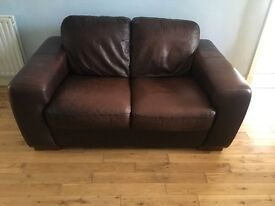 2 lovely brown real leather sofas