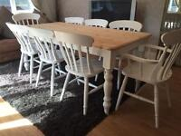 Amazing 6ft Shabby Chic Farmhouse Pine Table and 8 Lovely Chairs inc Two Carvers