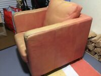 Faux leather club style armchair.