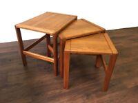 Retro Mid Century Oak and Teak Nest of Tables Vintage G plan era Danish Style Gplan