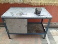 Garage metal table with vice