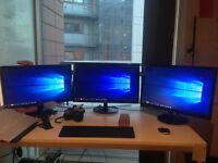 2 x 23 inch monitors (used as multi-screen system) (Almost brand new with boxes) Cost £250 brand new