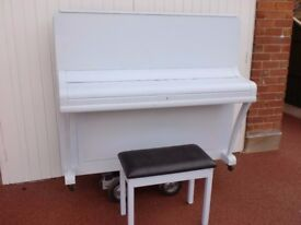 WEBER OVER STRUNG PIANO PAINTED BLUE SHABBY CHIC £350 CAN DELIVER INC STOOL