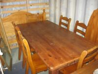 VERY STURDY SOLID PINE LONG TABLE & 6 MATCHING CHAIRS. VIEWING/DELIVERY AVAILABLE