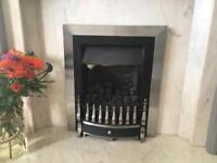 Gas Fire, Silver Trim and Grate