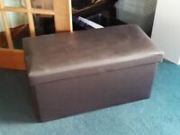 Brown leather effect storage chest