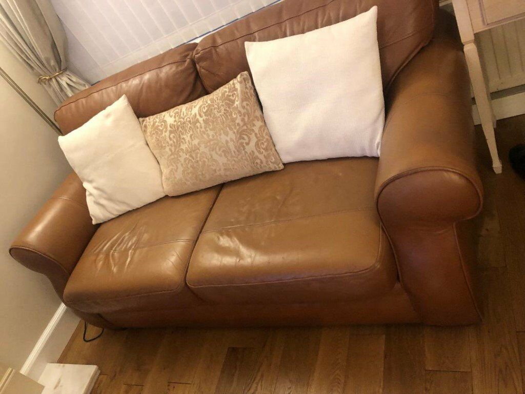 Reids Italian Leather Tan Colour Sofas Two Seater And 3