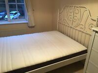 Ikea Leirvik White Double metal bed frame with Hovag Pocket Sprung Mattress