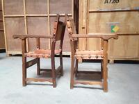 Pair vintage / antique leather Spanish style armchairs