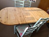 Shabby Chic solid Pine Dining Table, 4 chairs, curtains and canvasses