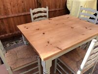 Rustic Pine dining table and four chairs