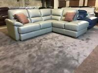 BRAND NEW FROM FABB SOFAS AXLE CORNER SOFA GREY REAL LEATHER LHF ARM CHAISE END WOODEN LEGS L SHAPE