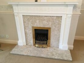 Gas Fire with White Wooden Surround and Marble Hearth / Panel