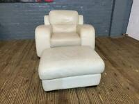WHITE LEATHER ARMCHAIR AND FOOTSTOOL