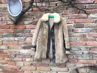 Curly Sheepskin Wool Shearling Jacket Leather Trim Real Vintage Charming Coat