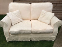 2 lovely matching cream 2 seater sofas, removable/washable covers, vgc