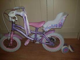 Girls pink princess bike
