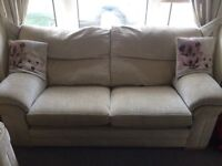 Two Beige sofas settee large and pouffe