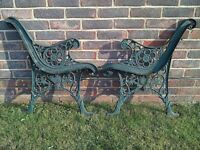 Vintage Heavy Cast Metal Garden Bench Ends