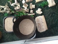 Fish tank ornaments and gravel and plants