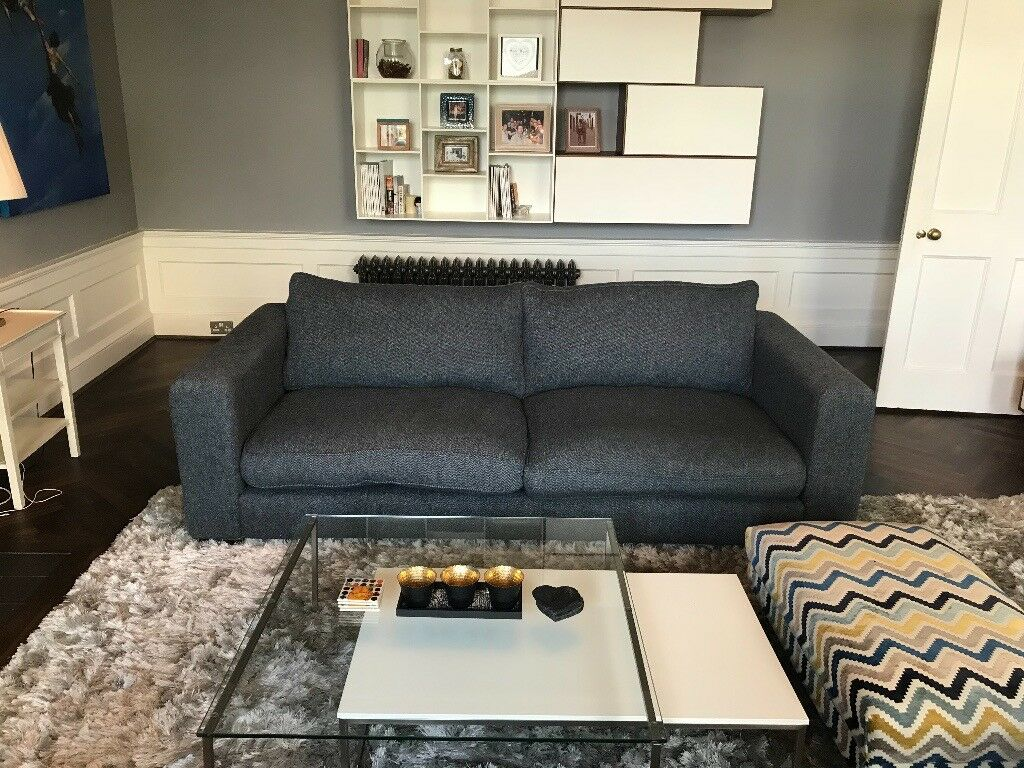 Sofas And Stuff 2 Large Stourhead Sofa S In Navy Harris Tweed Fabric