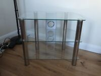 Glass tv corner cabinet. Excellent condition
